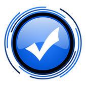 Akzeptieren sie blau glänzend kreissymbol — Stockfoto