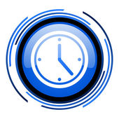 Clock circle blue glossy icon — Stock Photo