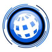 地球圈蓝色光泽图标 — 图库照片