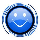 微笑圈蓝色光泽图标 — 图库照片
