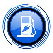Bränsle cirkel blå blanka ikonen — Stockfoto
