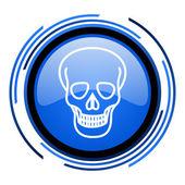 Icono brillante cráneo círculo azul — Foto de Stock