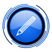 Pencil circle blue glossy icon — Stock Photo