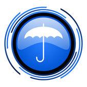 Regenschirm blau glänzend kreissymbol — Stockfoto