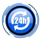 24h circle blue glossy icon — Stock Photo