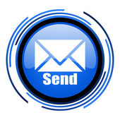 Send circle blue glossy icon — Stock Photo