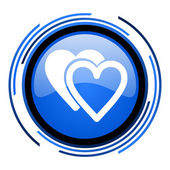 Love circle blue glossy icon — Stock Photo