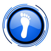 Footprint circle blue glossy icon — Stock Photo