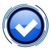 接受圈蓝色光泽图标 — 图库照片