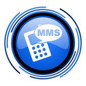 Mms 圈子有光泽的蓝色图标 — 图库照片