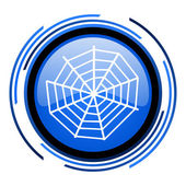 Spider web cirkel blauwe glanzende pictogram — Stockfoto