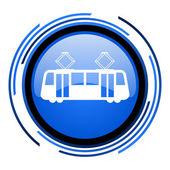 电车圈蓝色光泽图标 — 图库照片