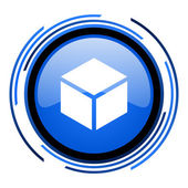 Box circle blue glossy icon — Stock Photo