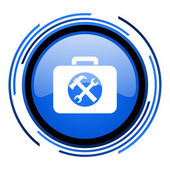 Icono brillante toolkit círculo azul — Foto de Stock
