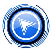 Navigation circle blue glossy icon — Stock Photo