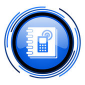 电话簿圈蓝色光泽图标 — 图库照片