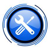 Ferramentas do círculo azul ícone brilhante — Foto Stock