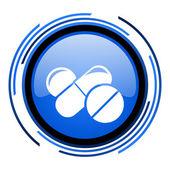 Pillole cerchio icona blu lucido — Foto Stock