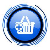 Shopping cart circle blue glossy icon — Stock Photo