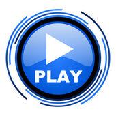 Spielen sie blau glänzend kreissymbol — Stockfoto