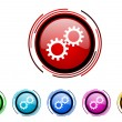 Gears circle web glossy icon colorful set — Stock Photo