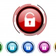 Padlock circle web glossy icon colorful set — Stock Photo