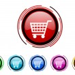 Shopping cart circle web glossy icon colorful set — Stock Photo #26377451