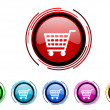 Stock Photo: Shopping cart circle web glossy icon colorful set