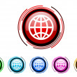 Stock Photo: Earth circle web glossy icon colorful set