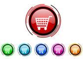 Shopping cart circle web glossy icon colorful set — Stock Photo