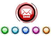 Send circle web glossy icon colorful set — Stock Photo
