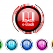 E-book icon set — Stock Photo