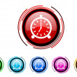 Stock Photo: Alarm clock icon set