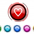 Heart icon set — Stock Photo
