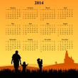 2014 calendar with young people — ストック写真