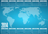 2014 calendar with world map — Stock Photo
