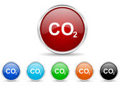 Carbon dioxide icon set — Stock Photo