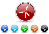 Windmill icon set — Stock Photo