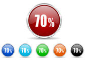 70 percent icon set — Stock Photo