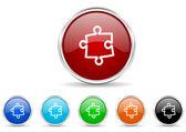 Puzzle icon set — Stock Photo