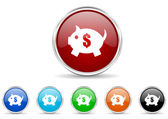 Piggy bank icon set — Stock Photo