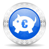 Piggy bank christmas icon — Stock Photo
