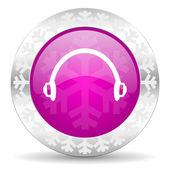 Headphones christmas icon — Stock Photo