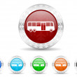 Bus icon christmas set — Stock Photo