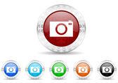 Camera icon christmas set — Stock Photo