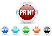 Print icon christmas set — Stock Photo