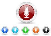 Microphone icon christmas set — Stock Photo