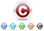 Copyright icon christmas set — Stock Photo