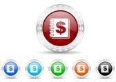 Money icon christmas set — Stock Photo