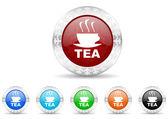 Tea icon christmas set — Stock Photo